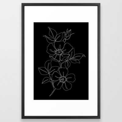 Botanical Illustration One Line Drawing - Rose Black Framed Art Print by The Colour Study - Vector Black - LARGE (Gallery)-26x38 - Society6