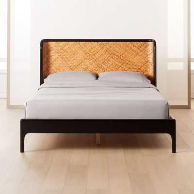 Miri Black and Rattan Queen Bed - CB2
