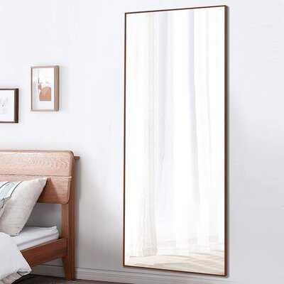 "Aluminum Alloy Full Length Mirror Floor Mirror Standing/Hanging Wall Mounted Mirror 65"" X 22"", Maple - Wayfair"