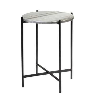 Domain Side Table In Black Textured Marble  & Black Iron Table Top Color: Gray - Perigold