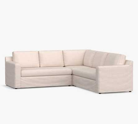 Shasta Square Arm Slipcovered 3-Piece L-Shaped Corner Sectional, Polyester Wrapped Cushions, Performance Heathered Basketweave Dove - Pottery Barn