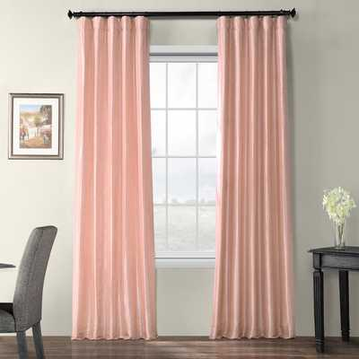 Exclusive Fabrics & Furnishings Salmon Rose Pink Blackout Faux Silk Taffeta Rod Pocket Curtain - 50 in. W x 96 in. L - Home Depot