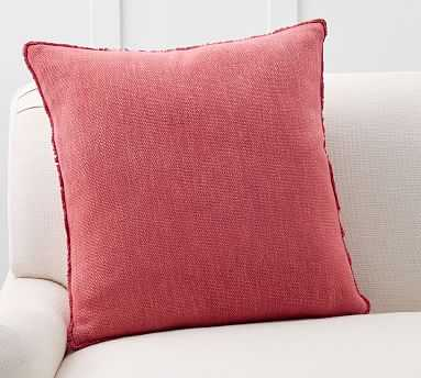 """Willa Fringe Textured Pillow Cover, 22"""", Strawberry - Pottery Barn"""