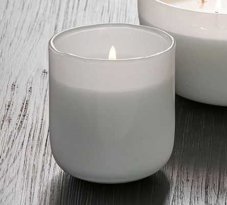 Modern Glass Candle, White, Small, Amalfi Jasmine, 12 oz - Pottery Barn