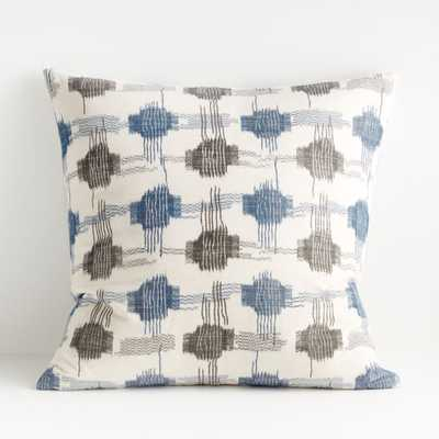 "Yuuki Blue and Grey Pillow 23"" - Crate and Barrel"