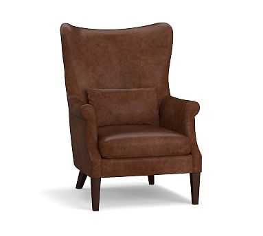 Champlain Wingback Leather Armchair, Polyester Wrapped Cushions, Burnished Bourbon - Pottery Barn