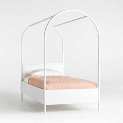 Canyon Arched Twin White Canopy Bed with Upholstered Headboard - Crate and Barrel