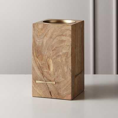Bowtie Wood Pillar Candle Holder Small - CB2