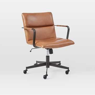 Cooper Mid-Century Office Chair, Vegan Leather, Saddle, Antique Bronze - West Elm
