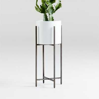 Dundee White Round Planter with Short Stand - Crate and Barrel