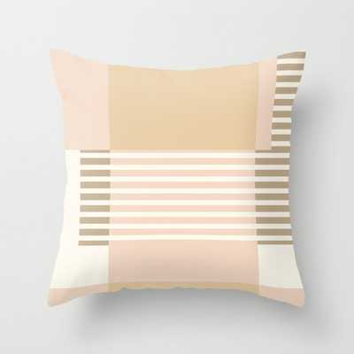 """Marfa Abstract Geometric Print In Beige Couch Throw Pillow by Becky Bailey - Cover (18"""" x 18"""") with pillow insert - Indoor Pillow - Society6"""