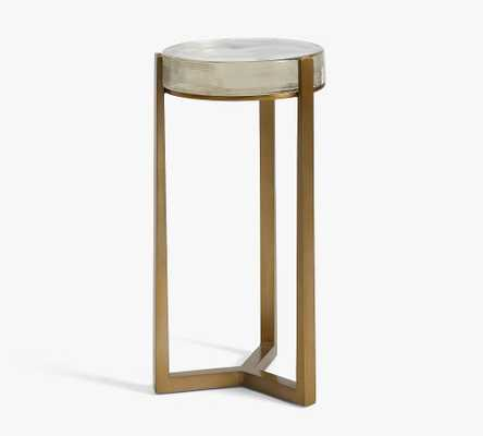 """Cori 10"""" Round Accent Table, Recycled Clear Glass Top/Brass Base - Pottery Barn"""