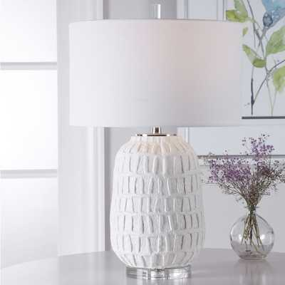 Uttermost Caelina Textured Matte White Ceramic Table Lamp - Style # 78T96 - Lamps Plus