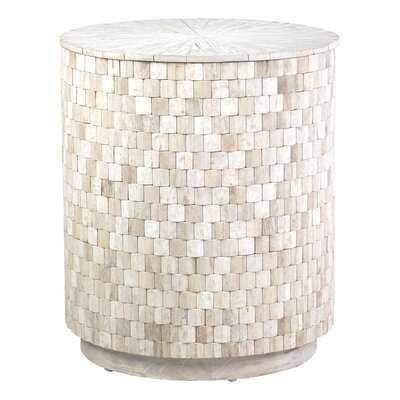 Trumann Solid Wood Drum End Table with Storage - Wayfair