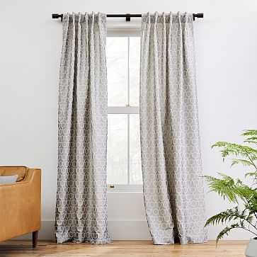 """Honeycomb Jacquard Curtain, Frost Gray, 48""""x96"""" - West Elm"""