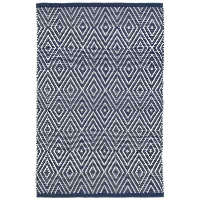 Dash and Albert Rugs Diamond Geometric Navy/Ivory Indoor / Outdoor Area Rug Rug Size: Rectangle 8' x 10' - Perigold