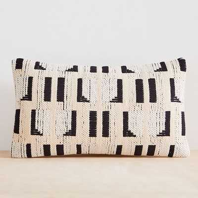 "Abstract Windowsill Pillow Cover, Set of 2, Black and Stone White, 12""x21"" - West Elm"