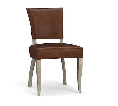 Berlin Leather Dining Side Chair, Gray Wash Leg, Burnished Saddle - Pottery Barn