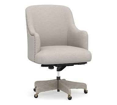 Reeves Upholstered Swivel Desk Chair with Gray Wash Frame, Heathered Twill Stone - Pottery Barn