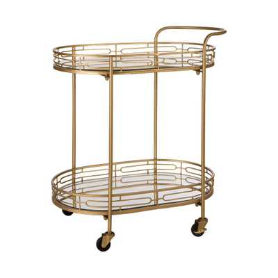 Glitzhome 30 in. H Deluxe Metal Oval Mirrored Bar Cart, Gold - Home Depot
