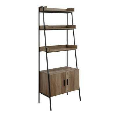 Industrial Style Rectangular Leaning-ladder Bookshelf With 3 Tier Shelf & 2 Doors Storage Rustic Oak & Black Finish - Wayfair