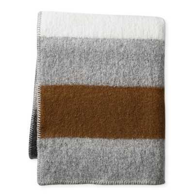 "Italian Boiled Wool Stripe Throw, 50"" x 70"", Bronze - Williams Sonoma"