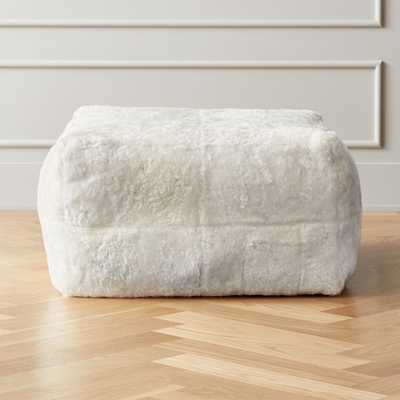 White Shorn Sheepskin Pouf - CB2
