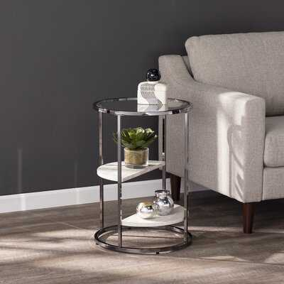 Round with Faux Stone End Table - Wayfair