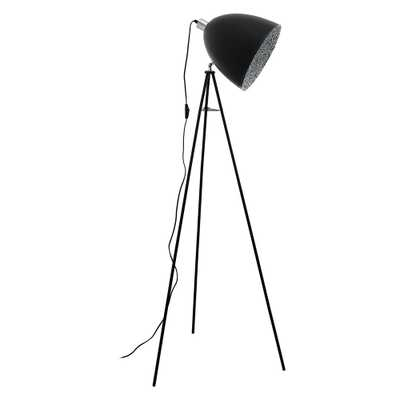 Eglo Mareperla 54.25 in. Black Floor Lamp with Black/Grey Metal Shade - Home Depot