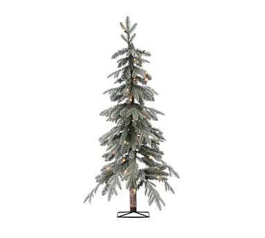 Pre-Lit Flocked Faux Natural Cut Alpine Tree, 4' - Pottery Barn