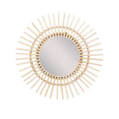 East At Main Valencia 23.6 in. x 23.6 in. Costal Round Rattan Cream Wall Mirror - Home Depot