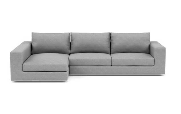 Walters Left Sectional with Grey Silver Grey Fabric and standard down blend cushions - Interior Define