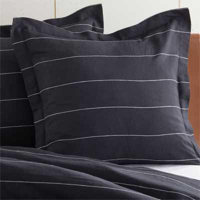 Pinstripe Black Linen Euro Shams Set of 2 - CB2