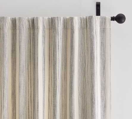 "Hawthorn Striped Cotton Rod Pocket Curtain, 50 x 84"", Charcoal - Pottery Barn"
