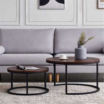"31.5"" Modern Nesting Coffee Table Round,Golden Color Frame With Marble Pattern Wood - Wayfair"