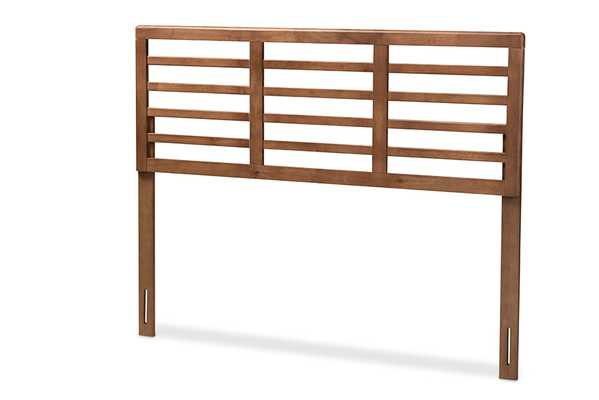 Baxton Studio Salome Mid-Century Modern Walnut Brown Finished Wood King Size Open Slat Headboard - Lark Interiors