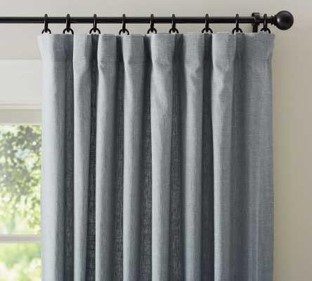 "Emery Linen/Cotton Rod Pocket Curtain, 50"" x 108"", Blue Dawn - Pottery Barn"