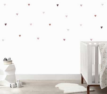 Mini Blush Watercolor Hearts Wall Decal - Pottery Barn Kids
