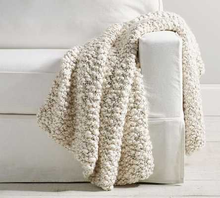 "Shiloh Chunky Handknit Throw, 44 x 56"", Black/White - Pottery Barn"