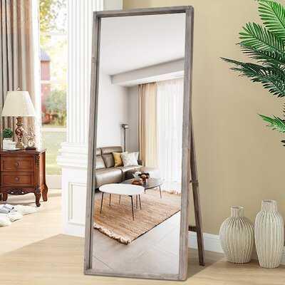 Full Length Mirror, Floor Mirror Rustic Farmhouse Style Barn Wood Grain Frame Dressing Mirror Wall Mounted Mirror - Ready To Hang Or Stand, Grey, 65''X22'' - Wayfair