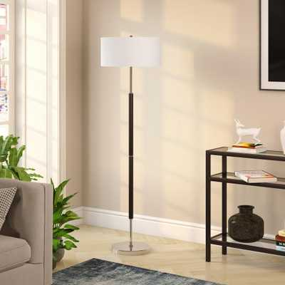Hudson&Canal Simone 61.5 in. Matte Black and Polished Nickel Floor Lamp - Home Depot