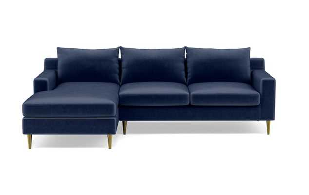 Sloan Left Sectional with Blue Bergen Blue Fabric, standard down blend cushions, and Brass Plated legs - Interior Define