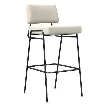 Wire Frame Bar Stool, Sauvage Leather, Chalk, Antique Bronze - West Elm