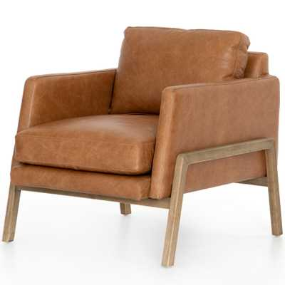 Macy Modern Classic Brown Leather Wood Arm Chair - Kathy Kuo Home