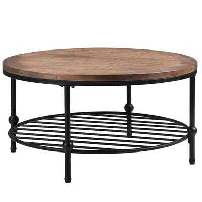 Rustic Natural Round Coffee Table With Storage Shelf For Living Room Easy Assembly Brown - Wayfair