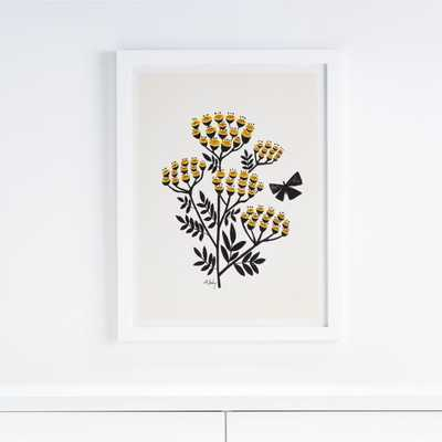 Buds and Butterflies Framed Wall Art - Crate and Barrel