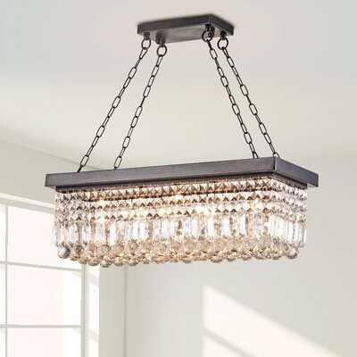 Lafollette 5-light Antique Black Finish Rectangular Crystal Chandelier 70C95B7793F9449EBBC5DD916502411E - Wayfair