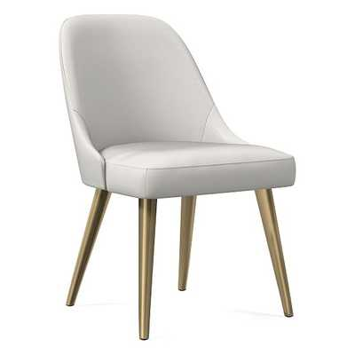 Mid-Century Upholstered Dining Chair, Sierra Leather, White, Blackened Brass - West Elm