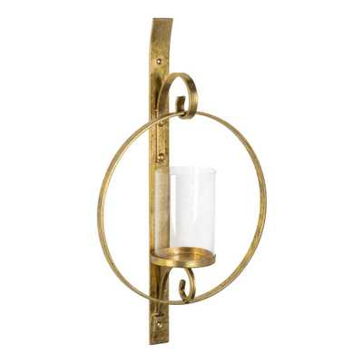 Kate and Laurel Doria Gold Metal Candle Sconce - Home Depot