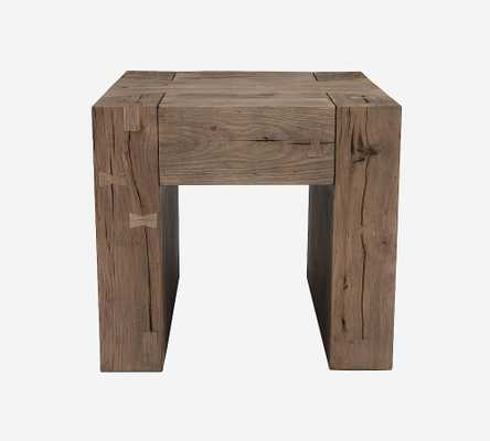 "Raymond 24"" Square Reclaimed Wood End Table, Natural - Pottery Barn"